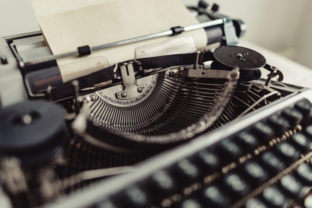 Metal parts of old typewriters